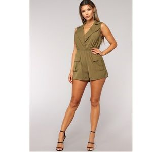 Pants - Shorts Cargo Pockets Romper Sleeveless Jumpsuit S